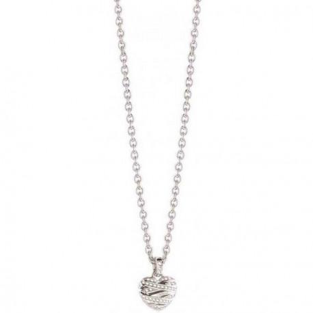 Collier GUESS, pendentif coeur, métal argenté fantaisie