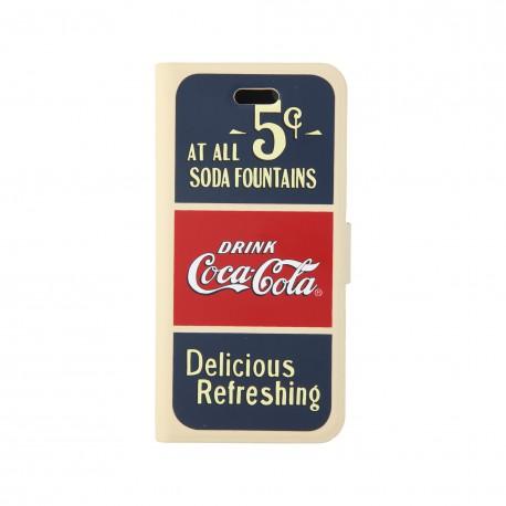 Coque étui Coca-Cola Old 5cents pour iPhone 4 / 4S, coloris bleu / rouge / beige (modèle bloc notes)