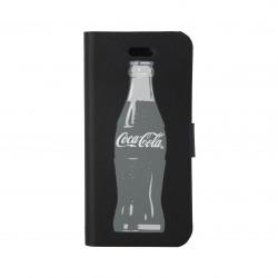 Coque étui Coca-Cola Grey Bottle pour iPhone 5 / 5S avec logo et bouteilles gris, coloris noir (modèle bloc notes)