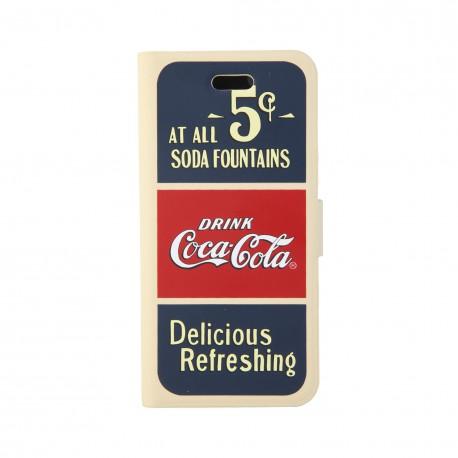 Coque étui Coca-Cola Old 5cents pour iPhone 5 / 5S, coloris bleu / rouge / beige (modèle bloc notes)