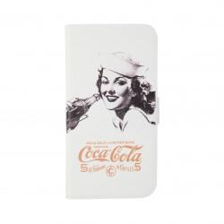 Coque étui Coca-Cola Golden Beauty pour iPhone 5 / 5S, coloris blanc avec impression et logo (modèle bloc notes)