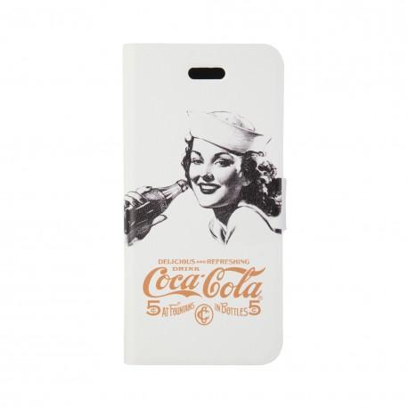 Coque étui Coca-Cola Golden Beauty pour iPhone 5C, coloris blanc avec impression et logo (modèle bloc notes)