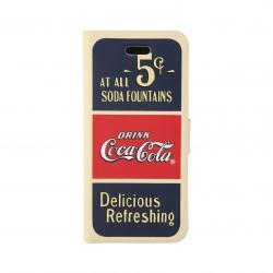 Coque étui Coca-Cola Old 5cents pour iPhone 5C, coloris bleu / rouge / beige (modèle bloc notes)