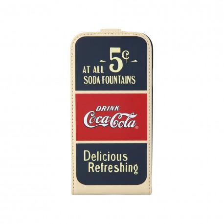 Coque étui Coca-Cola Old 5cents pour Samsung Galaxy S4, coloris bleu / rouge / beige (ouverture verticale)