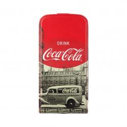 Coque étui Coca-Cola City Cab pour Samsung Galaxy S4, impressions noir/blanc et logo Coca-Cola (ouverture verticale)
