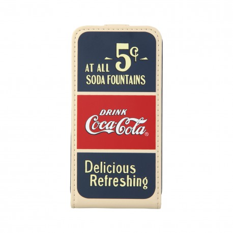 Coque étui Coca-Cola Old 5cents pour iPhone 4 / 4S, coloris bleu / rouge / beige (ouverture verticale)