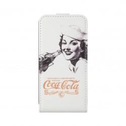 Coque étui Coca-Cola Golden Beauty pour iPhone 4 / 4S, coloris blanc avec impression et logo (modèle bloc notes)