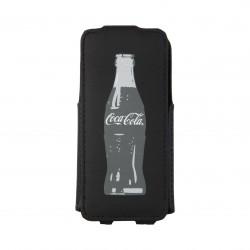 Coque étui Coca-Cola Grey Bottle V pour iPhone 5 / 5S, canvas, avec logo et bouteilles gris, coloris noir (ouverture verticale)