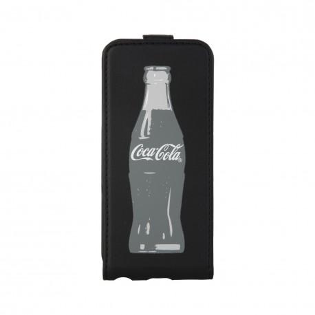 Coque étui Coca-Cola Grey Bottle pour iPhone 5 / 5S, en PU, avec logo et bouteilles gris, coloris noir (ouverture verticale)