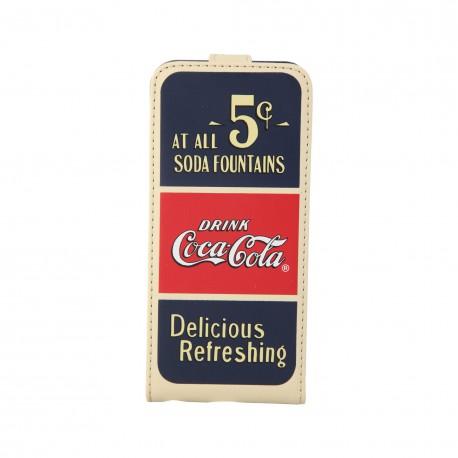 Coque étui Coca-Cola Old 5cents pour iPhone 5 / 5S, coloris bleu / rouge / beige (ouverture verticale)