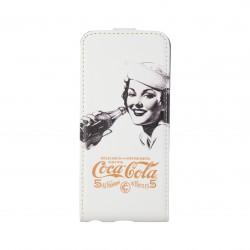 Coque étui Coca-Cola Golden Beauty pour iPhone 5 / 5S, coloris blanc avec impression et logo (ouverture verticale)