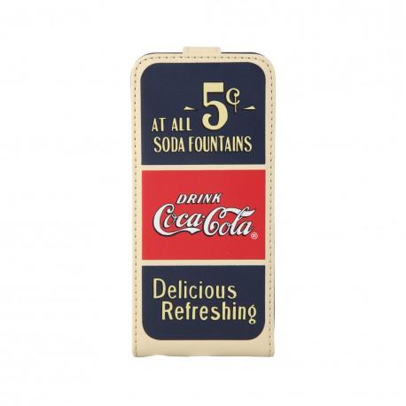 Coque étui Coca-Cola Old 5cents pour iPhone 5C, coloris bleu / rouge / beige (ouverture verticale)
