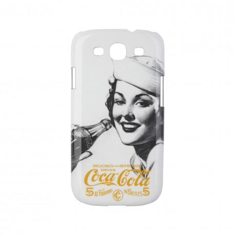 Coque étui Coca-Cola Golden Beauty pour Samsung Galaxy S3, impression IML, coloris blanc avec impression et logo doré