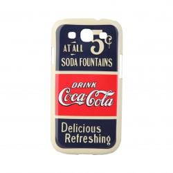 Coque étui Coca-Cola Old 5cents pour Samsung Galaxy S3, impression IML, coloris bleu / rouge / beige (ouverture verticale)