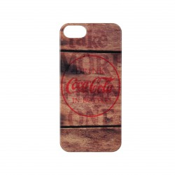 Coque étui rigide Coca-Cola Coke Wood V pour iPhone 5 / 5S, impression IML, colors couleur marron/bois et logo rouge