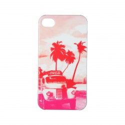 Coque étui rigide Coca-Cola Coke Truck pour iPhone 4 / 4S, impression IML, colors couleur marron/bois et logo rouge