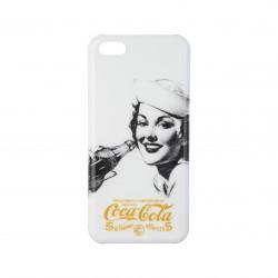 Coque étui Coca-Cola Golden Beauty pour iPhone 5C, impression IML, coloris blanc avec impression et logo doré