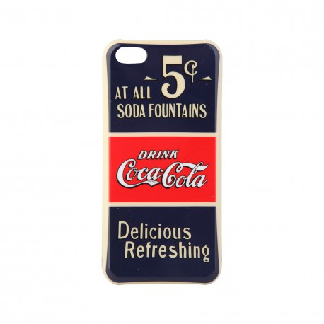 Coque étui Coca-Cola Old 5cents pour iPhone 5C, impression IML, coloris bleu / rouge / beige