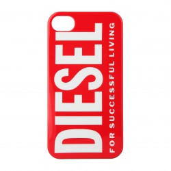 Coque étui Diesel For Successful Living pour iPhone 4 / 4S, impression IML, coloris rouge avec logo Diesel blanc