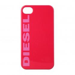 Coque étui Diesel pour iPhone 4 / 4S, impression IML, coloris rouge avec logo Diesel fuchsia