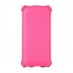 Coque étui Diesel Scissor Flip Case pour iPhone 5 / 5S, coloris rose avec double logos dos et avant (ouverture verticale)