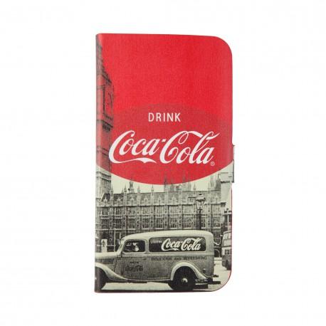 Coque étui Coca-Cola Bottle Case pour Samsung Galaxy S4, coloris blanc avec impressions noir/blanc (modèle bloc notes)