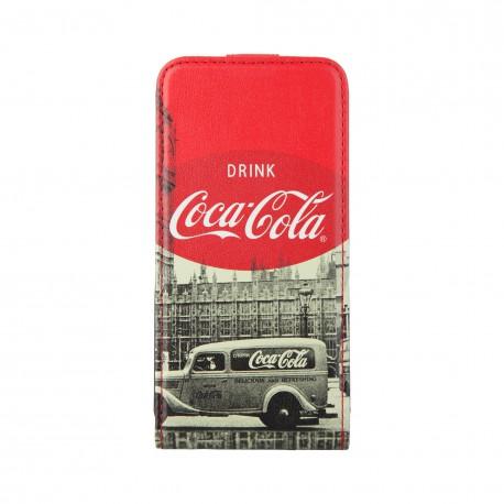 Coque étui Coca-Cola City Cab pour iPhone 4 / 4S, coloris blanc avec impressions noir/blanc (ouverture verticale)