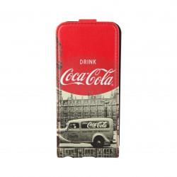 Coque étui Coca-Cola City Cab pour iPhone 5 / 5S, coloris blanc avec impressions noir/blanc (ouverture verticale)