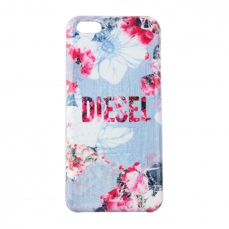 Coque étui Diesel Pluton Flowers pour iPhone 5C, impression IML, modèle florale, tons bleu / blanc / rosé