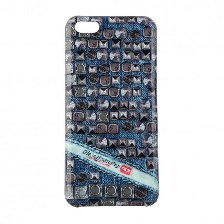 Coque étui Diesel Pluton The Diesel Industry pour iPhone 5C, impression IML, modèle Studs, couleurs bleu / gris