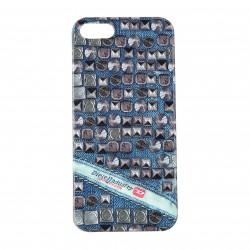 Coque étui Diesel Pluton The Diesel Industry pour iPhone 5 / 5S, impression IML, modèle Studs, couleurs bleu / gris